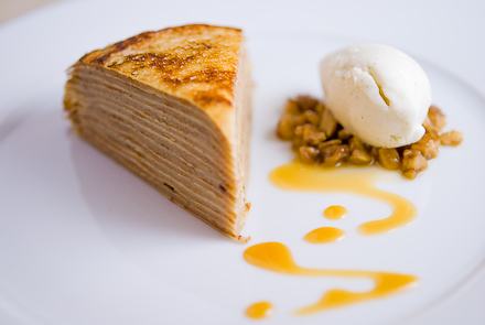 Cannoli Crepe Cake With Orange Puree Recipe — Dishmaps