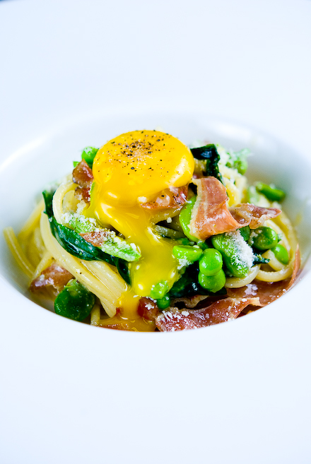 "Spaghetti ""Carbonara"" with Duck Prosciutto, Fava Beans & Ramps"