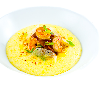 Shrimp & Grits with Bacon, Smoked Paprika & Aged Manchego