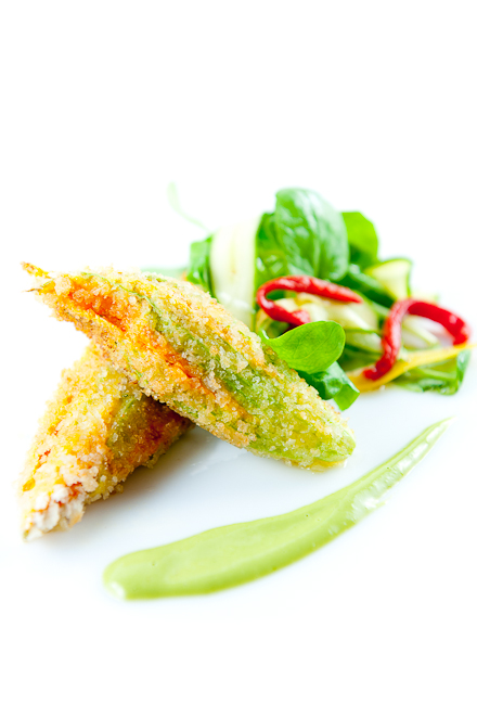 Crab-Stuffed Zucchini Flowers with Basil Sauce & Watercress Salad
