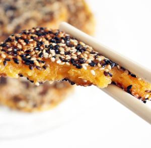 Sesame Coated Pumpkin Pancakes