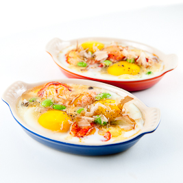 Slow-Baked Eggs w/ Lobster, Soy Beans & Gochuchang