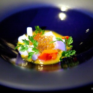 Trout roe, carrot, coconut, curry from the 3* Michelin restaurant Alinea