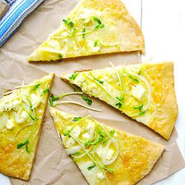 Three Cheese Wheat Pizza with Pea Shoots (Al Dente Gourmet)
