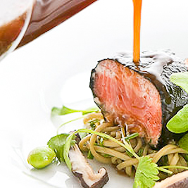 Miso King Salmon w/ green tea noodles, shiitake broth (Nurtured Seafood)