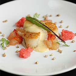 Scallop on buckwheat pure, marinated citrus salad, vanilla-long pepper whipped blood orange jelly and baked lemon sabayon 
