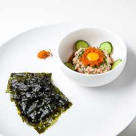 spicy hamachi tartare, nori sheets (Chef Jenn)