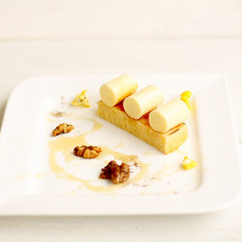 Corn Panna Cotta, Lemon Madeleine, Spiced Walnuts