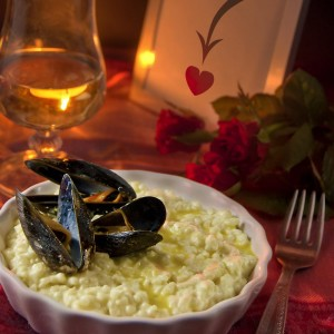 Kaffir-lime risotto with saffron mussels