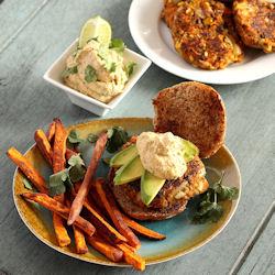 Yamburgers - vegan sweet potato black bean burgers