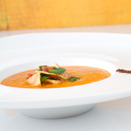 Red pepper soup, with Fattoush style garnish