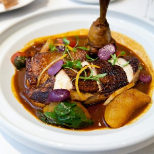 Chicken tagine with turnips, spinach, preserved lemon from Boulud Sud
