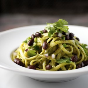 Linguini, Smoky Avocado Sauce, Black Beans, Lime