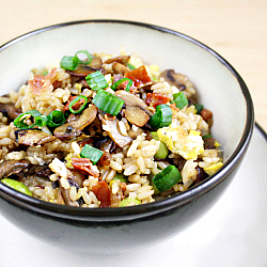Fried Rice with Sautéed Mushrooms and Crispy Prosciutto