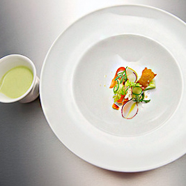Chilled Sunchoke Dashi Soup with Vegetables (Paul Qui via BravoTV)