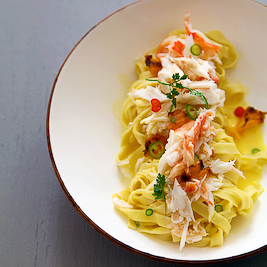 Tagliatelle with King Crab, Tangerines.. (Lemon Fire Brigade)