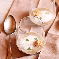 Cream of Mushroom Soup with Parsley Root Foam and Crispy Oat Flake Balls