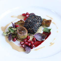 Lamb with Black Sesame on Artichoke Puree with Pomegranate-Port Reduktion and Tahini Fluid Gel 