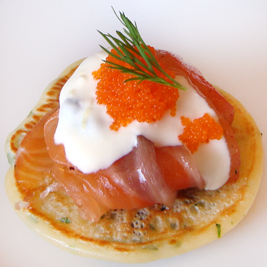 Herbed Blinis with Gravlax, Masago &amp; Lemon-Caper Crme Frache