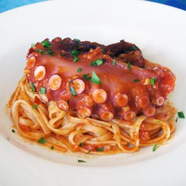Linguine in Arrabbiata with Octopus Tentacle