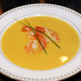 Butternut Squash Soup with Ginger Shrimp