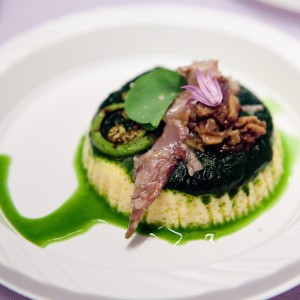 Savory custard with pulled duck and pesto