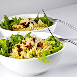 Creamy Fusilli with Sundried Tomatoes, peas and arugula