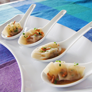 Mini Shrimp Dumplings with Shiitake & Water Chestnut