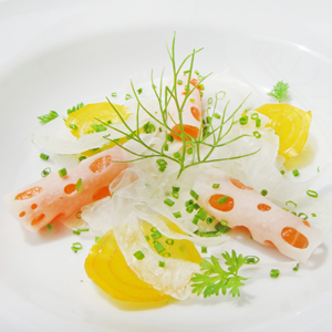 Chilled Asparagus Soup with Salmon, Lotus Root, Shaved Fennel & Golden Beets