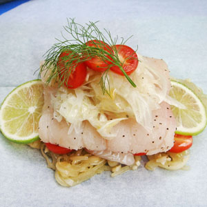 Flounder en Papillote with Fennel, Grape Tomatoes, Tarragon & Lime