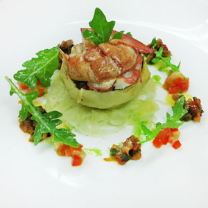 Braised Artichoke Heart & Lobster Fennel Salad with Caponata, Basil Oil and Vinaigrette
