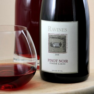 Ravines Wine Cellars Pinot Noir paired with trofie and arugula pesto