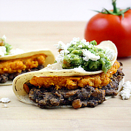 "Sweet Potato and ""Un-Fried"" Bean Tacos"
