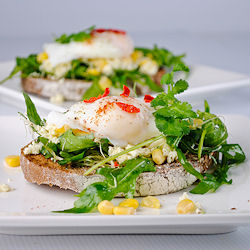Feta Cheese, Arugula and Poached Egg Open Sandwich