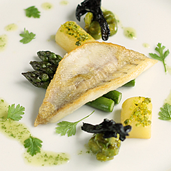 Perch with Asparagus, Pistachio and Chervil Beurre Blanc