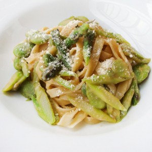 Fettuccine in a Lemon Garlic Sauce with Asparagus & Fava Beans