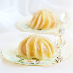 White Wine Poached Pear & Caramel Mousse Entremets