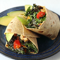 Tahini & Avocado Kale Salad Wraps