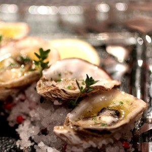 Poached baby Kusshi oysters with French salted butter