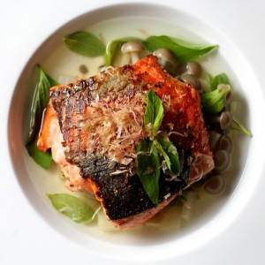 Crispy-Skin King Salmon, Daikon & Dashi