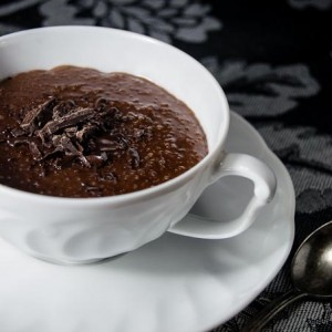 Chocolate rum quinoa pudding