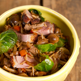 Riz frit au canard et aux champignons