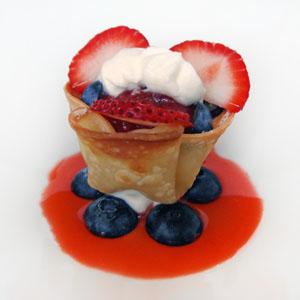 Mini Fruit Bites with Lemon Crème Chantilly, Strawberry Compote & Consommé