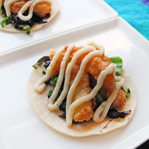 Fish Tacos with a Chardonnay Parmesan Sauce