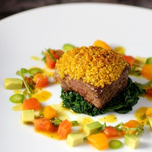 Lamb, Curry Quinoa Crust, Tomato Mint Salsa