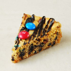 M&M and Chocolate Chip Cookie Cake