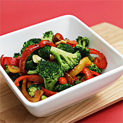 Sauted broccoli with yellow and red bell peppers