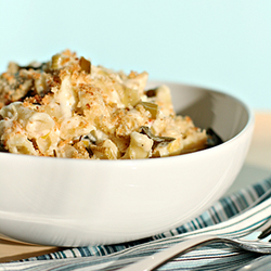 Mac and cheese with braised leeks, asiago and parmesan breadcrumbs
