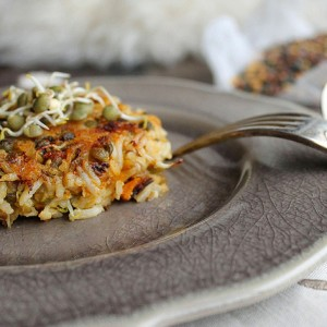 Rice cakes with lentils and pumpkin
