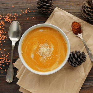 Pumpkin and lentil soup with coconut milk and red curry